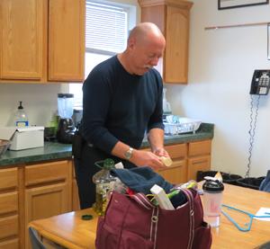 Joe Hafer prepares breakfast for the crew
