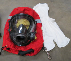 face mask, bag and hood