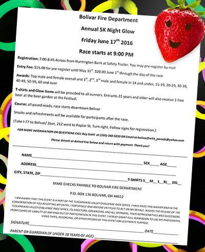 Bolivar Fire Dept 5K Night Glow Run Registration Form